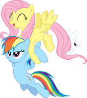 Fluttershy carrying Rainbow Dash Vector by scrimpeh