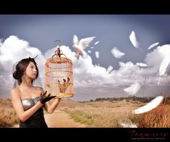 Birdcage and Feathers by ParkLeggyKorean