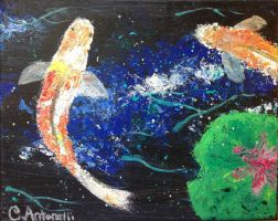 Koi Fish (palette knife painting) by GDSCorinne