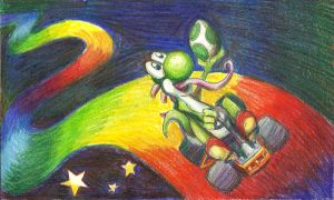 Yoshi on Rainbow Road by Marioshi64