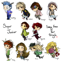 Sexy Free and Single - Super Junior Chibis by Karaiel