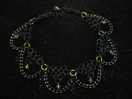 Lime and Black Chainmaille Choker by JadedDragonRI