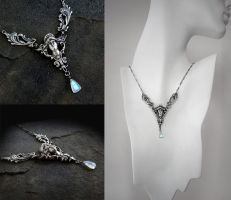 Art Nouveau Moonstone Necklace by Gweyeni