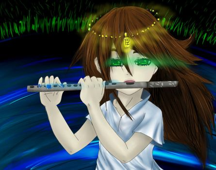 The flute player by Bluewolf-evalioness