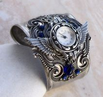 Steampunk Cuff Watch -Silver by Aranwen