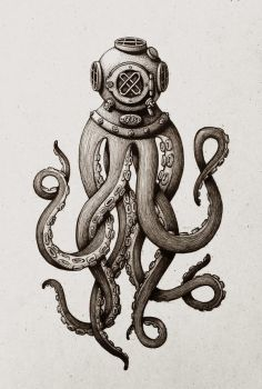 Diver Octopus ink drawing by room4shoes