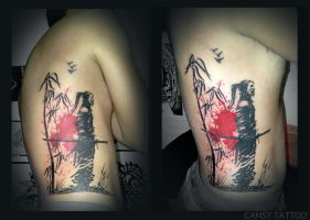 Samurai Bamboo Silhouette Tattoo by camsy
