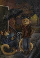 Skytown College AU -Rainy Meeting by Ski-Machine