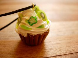 Kiwi Cupcake Necklace by Bee-Delicious