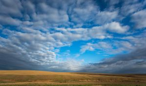 Cloudy Blue Sky Stock by leeorr-stock