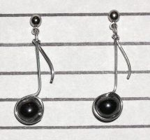 Musical Note Earrings by lavadragon