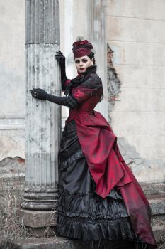 Red-black vampire bustle dress by BlackMart