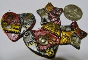 Steampunk Stars and Hearts Charms. by Darxen