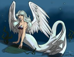 Commission - Winged mermaid by ralloonx