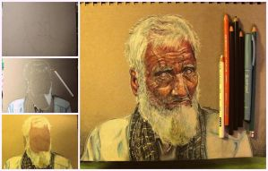 The Old Pakistani Man drawing progress by Aadavy
