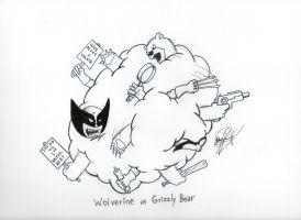 Wolverine Vs Grizzly Bear INKED by johnnyism