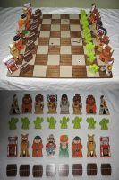 Cowboy and Indian Chess Set by DougDraw