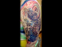 Trippy Dragon Cover-Up Tattoo done by Sean Ambrose by seanspoison