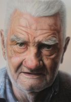Detail pic /Mixed media portrait of my Grandfather by AtomiccircuS