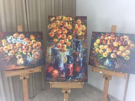 FLOWERS OF PASSION set of 3 pieces by Leonidafremov