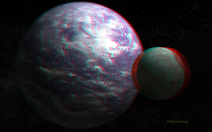 Anaglyph Tellus and Moon by passionofagoddess