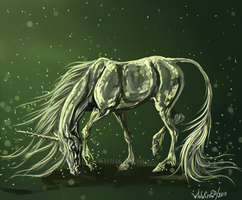 Green unicorn by whitecrow-soul