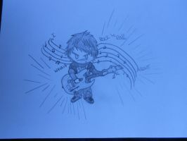 My chibi self playing GH or RB by XReaper666
