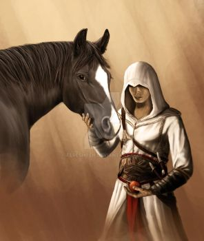 Altair and his horse by Fereshteh