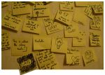 Sticky notes and yellow cards. by mondscheinsonate