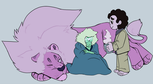 Peridot, a blanket, and a lot of fuzz. by Peryton-Faun