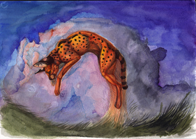 Serval jumping by Lunewen