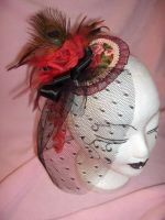 colourful rose Fascinator veil by nashimiron