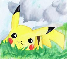 Pikachu watercolor on canvas by LightningChaser