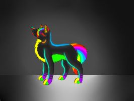 Glowing Rainbow Wolf Thing by nightpeltstar456