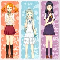 AnoHana Bookmark Set by MirakuruNaito