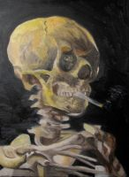 Skull With Burning Cigarette by HaanaArt