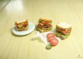 1:12 miniature sandwiches from polymer clay by Tristatin