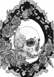 Tattoo 3 - Skull in frame with roses by Yami19
