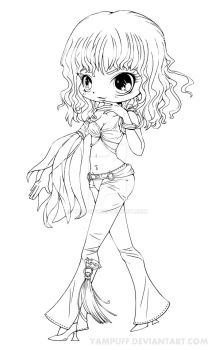 Britney Spears Chibi Lineart - Slave 4 U by YamPuff