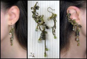 Voices of nightingales ear cuff and earring by JSjewelry