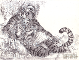 Reclining Tigress [Commish] by Heyriel