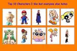 My top 10 caracthers I like but the world hates by Princessrosalina456