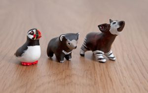 Cute animal totems from polymer clay by lifedancecreations