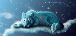Heavenly wolf by Evelinapoodle