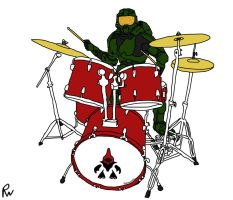 Master Chief Drumming by Peskywaabbit