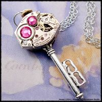 Steampunk Pink Key Pendant by SoulCatcher06