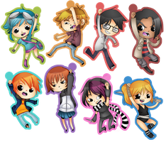 Scott Pilgrim keychains by BluevanDeurs