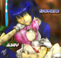 Sonic and Amy Humanized by QTStartheHedgehog