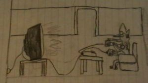 Mordecai and Rigby playing video games by Indonesia-chan