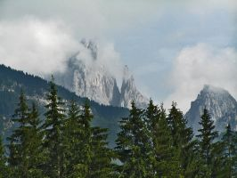 Trees, mountains  and clouds by edelweiss26